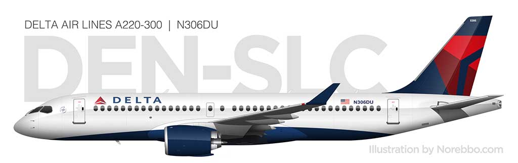 Delta Air Lines A220-300 side view