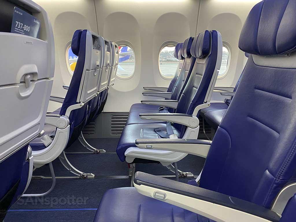 Southwest Airlines blue seats