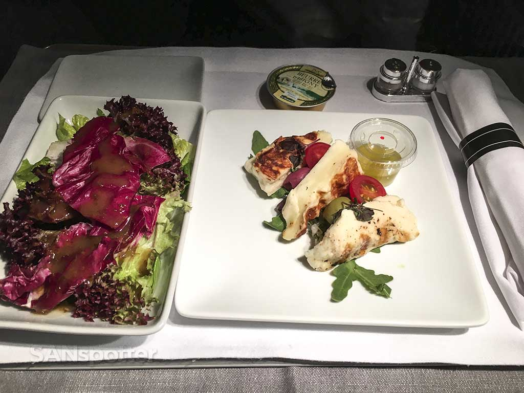 American Airlines business class appetizer