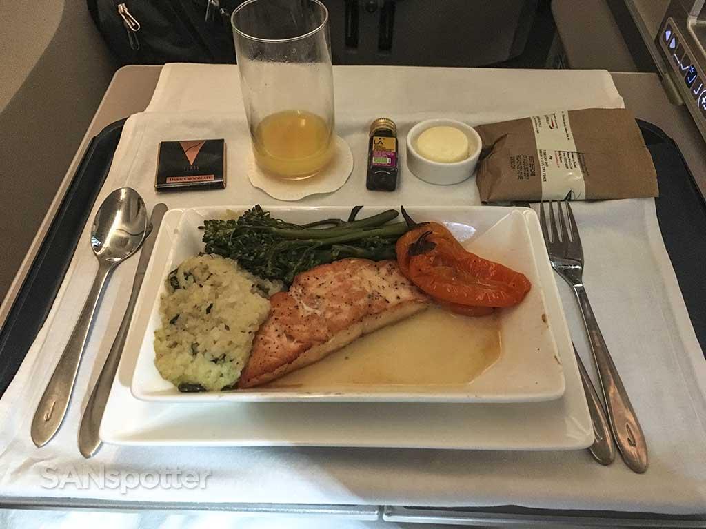 British Airways business class food