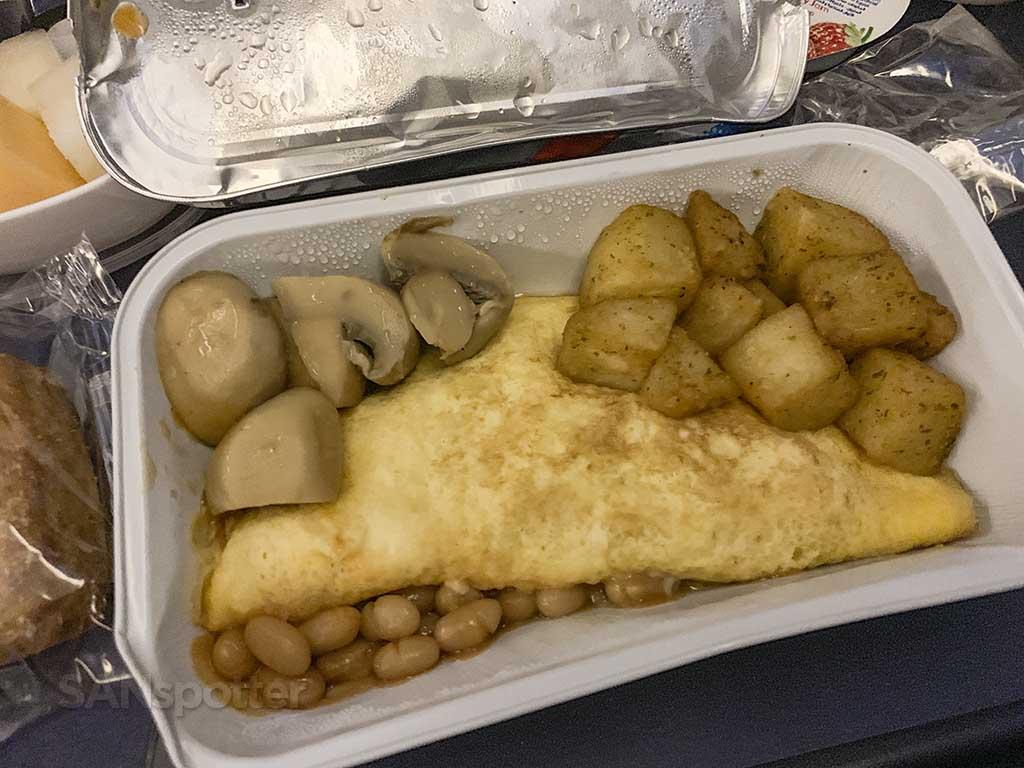 British Airways economy class breakfast