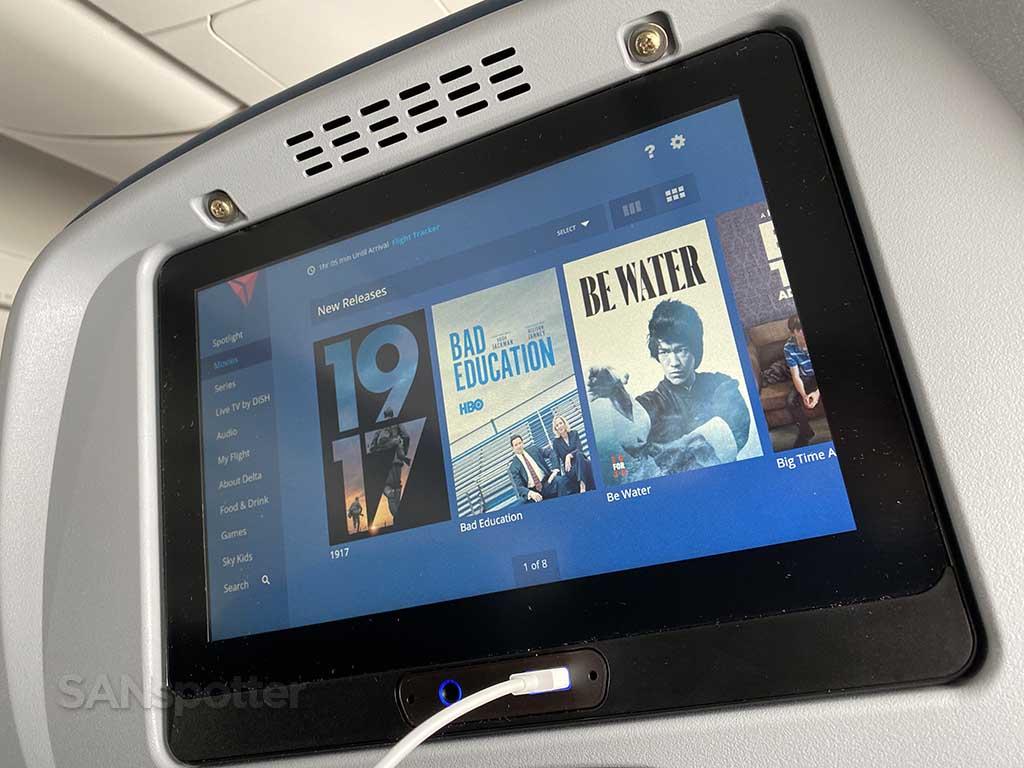 Delta Studio in flight entertainment on the A220