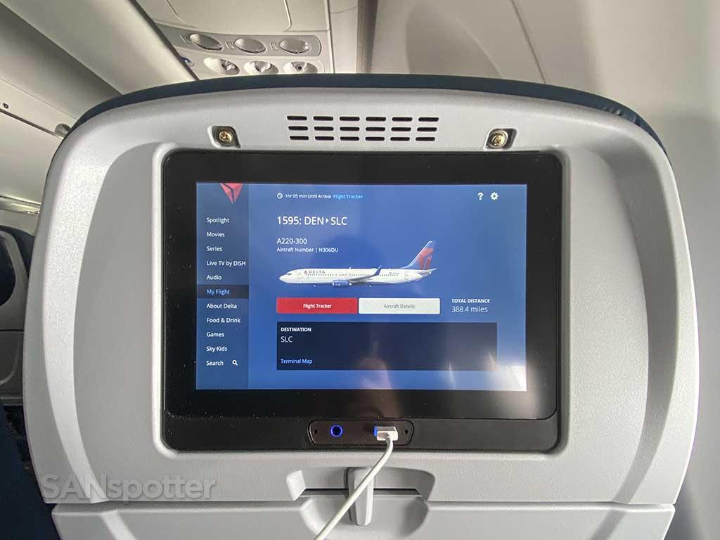 Delta A220 flight information screen