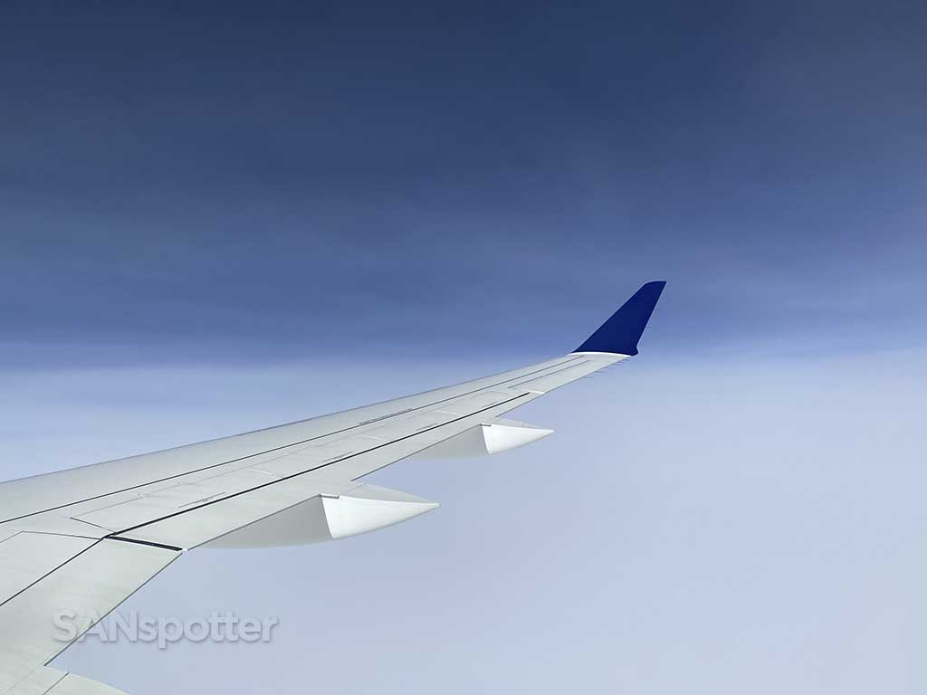 Airbus A220 wing in flight