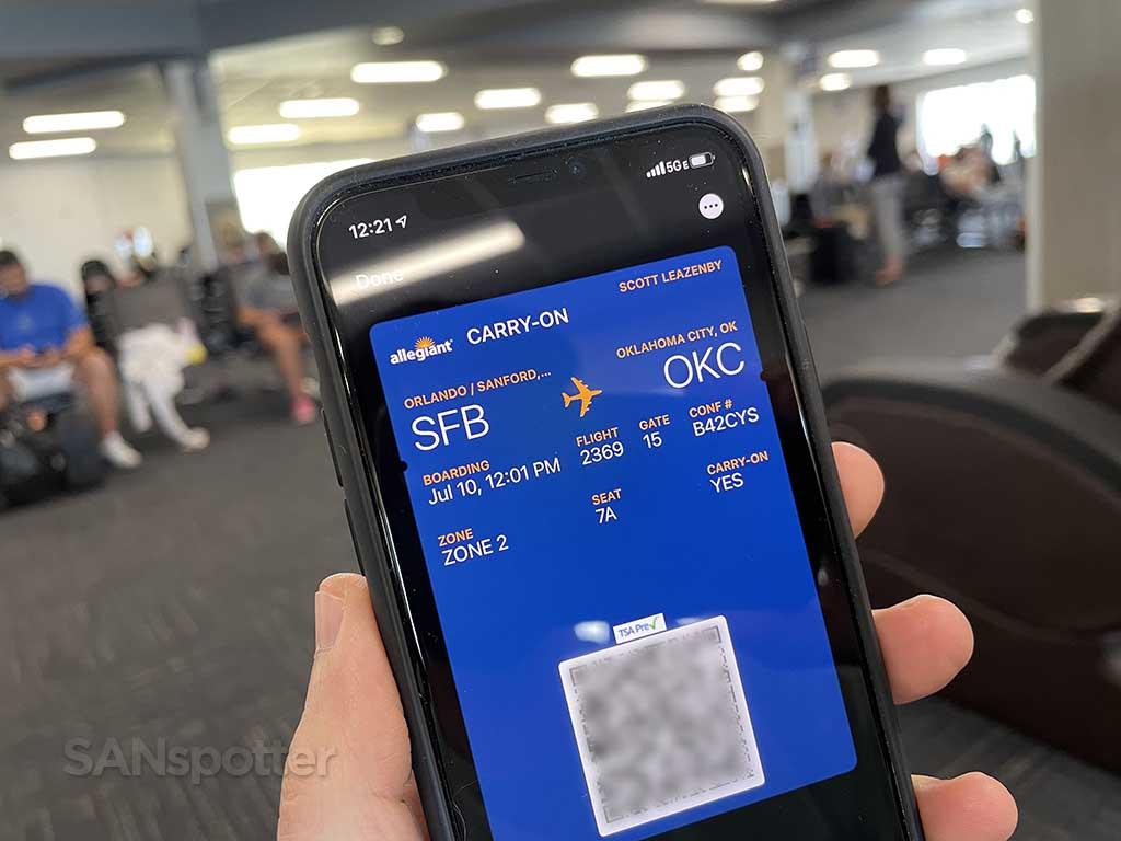 Allegiant Air mobile boarding pass