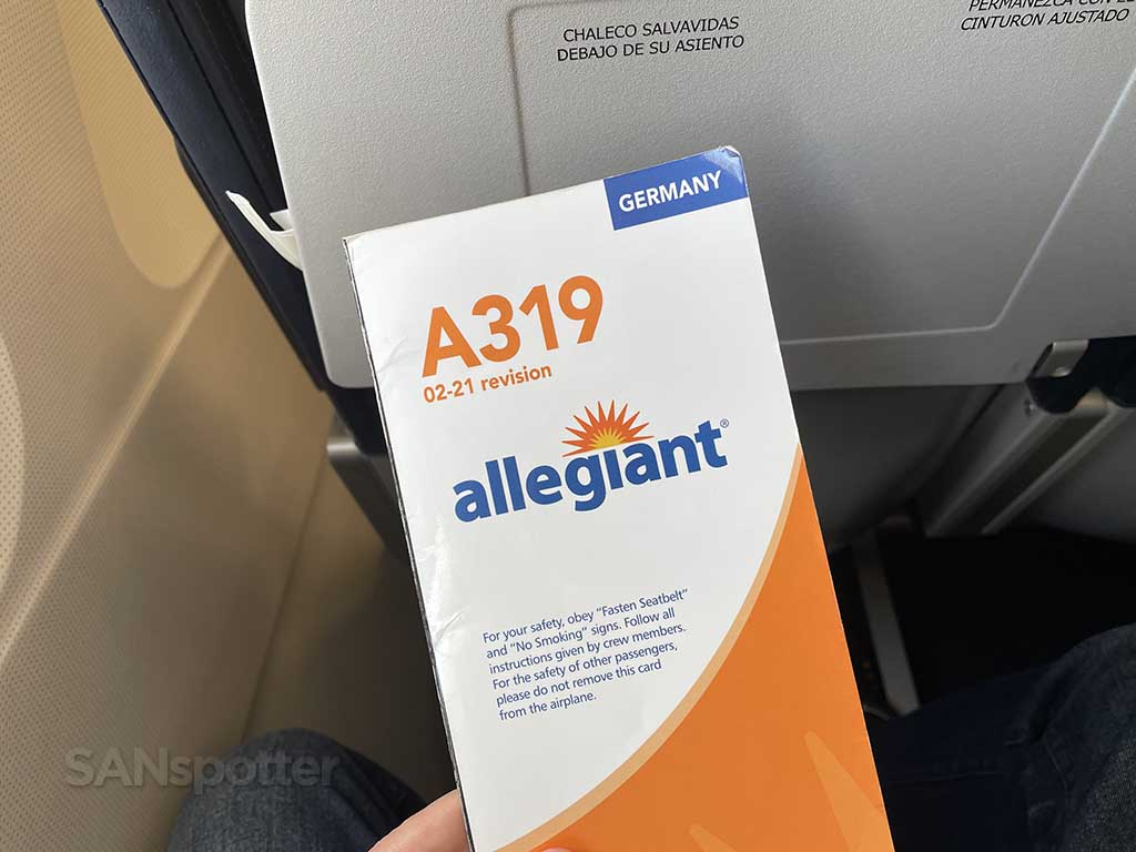 Allegiant Air A319 safety card front cover