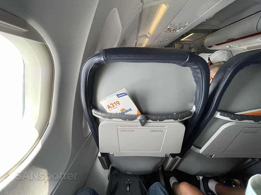 Allegiant Air A319 seat back