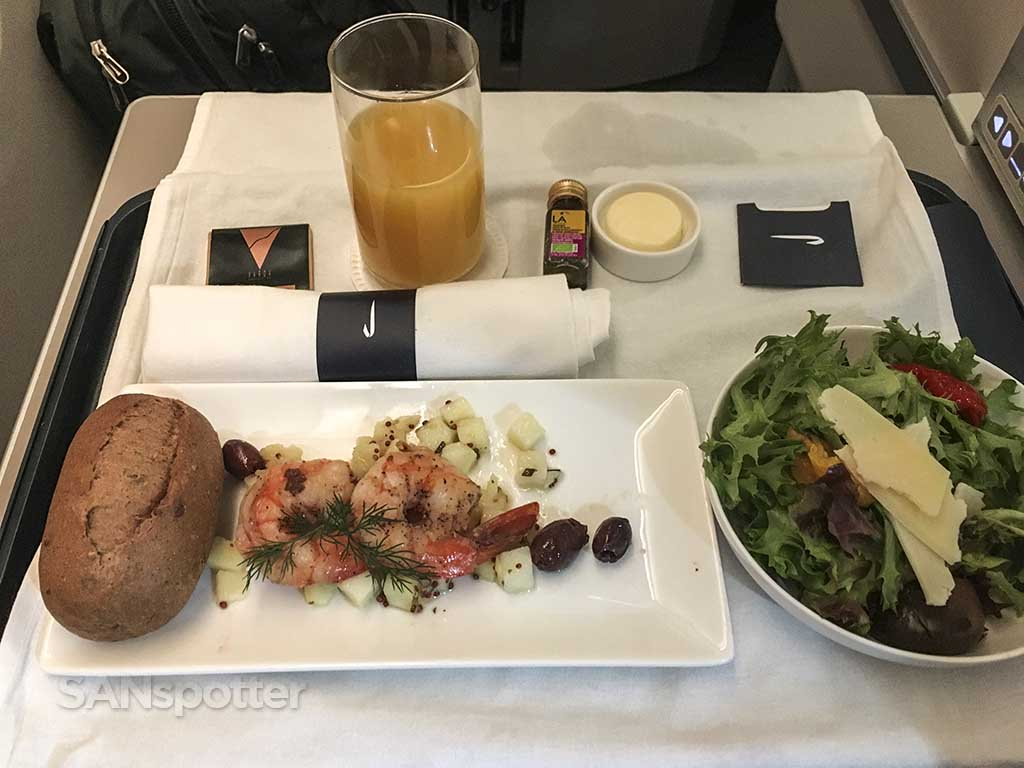 British Airways business class appetizer