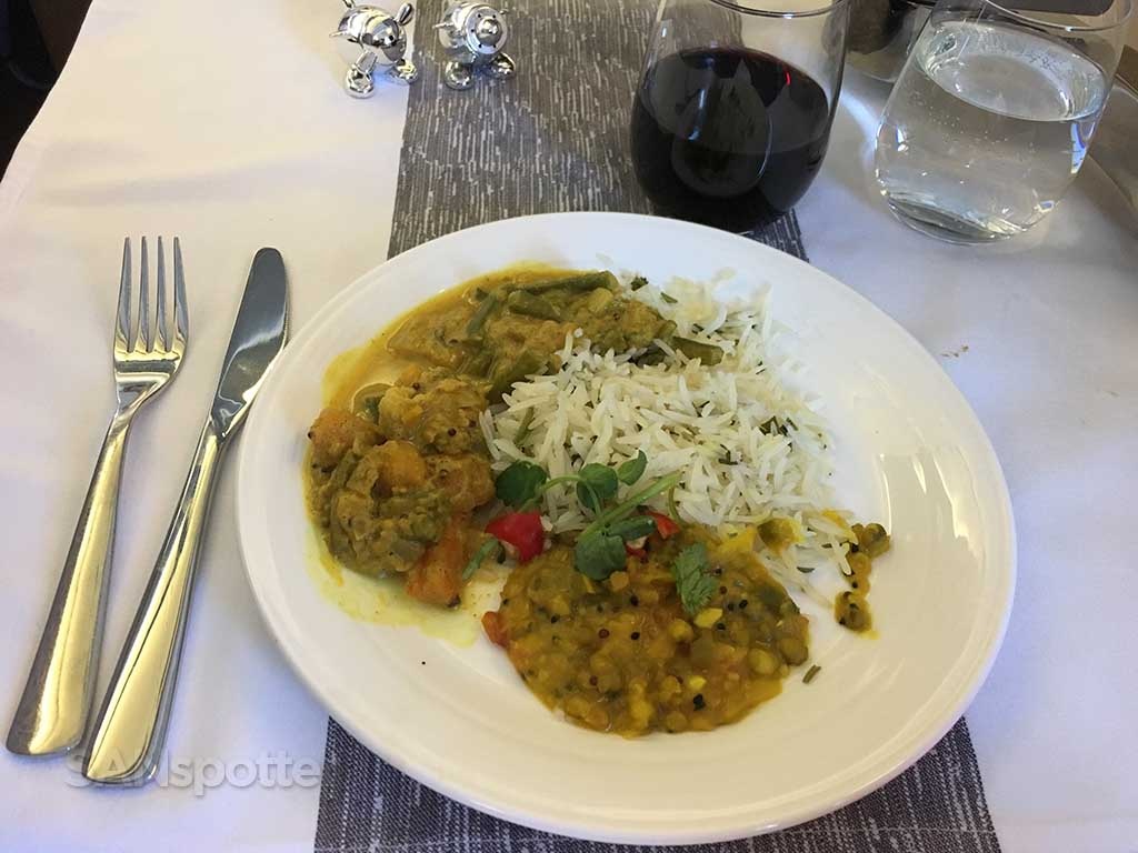 Virgin Atlantic Upper Class lunch entree