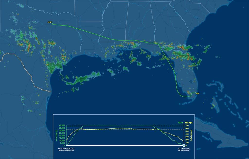 AA2239 flight track