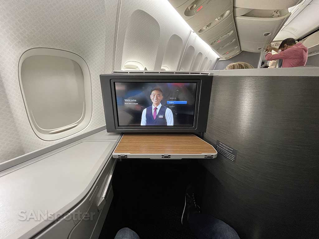 American Airlines 777-200 business class seat video screen