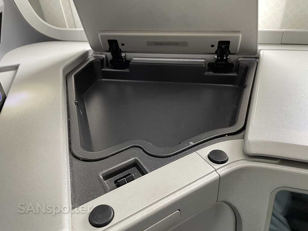 American Airlines 777 business class seat storage