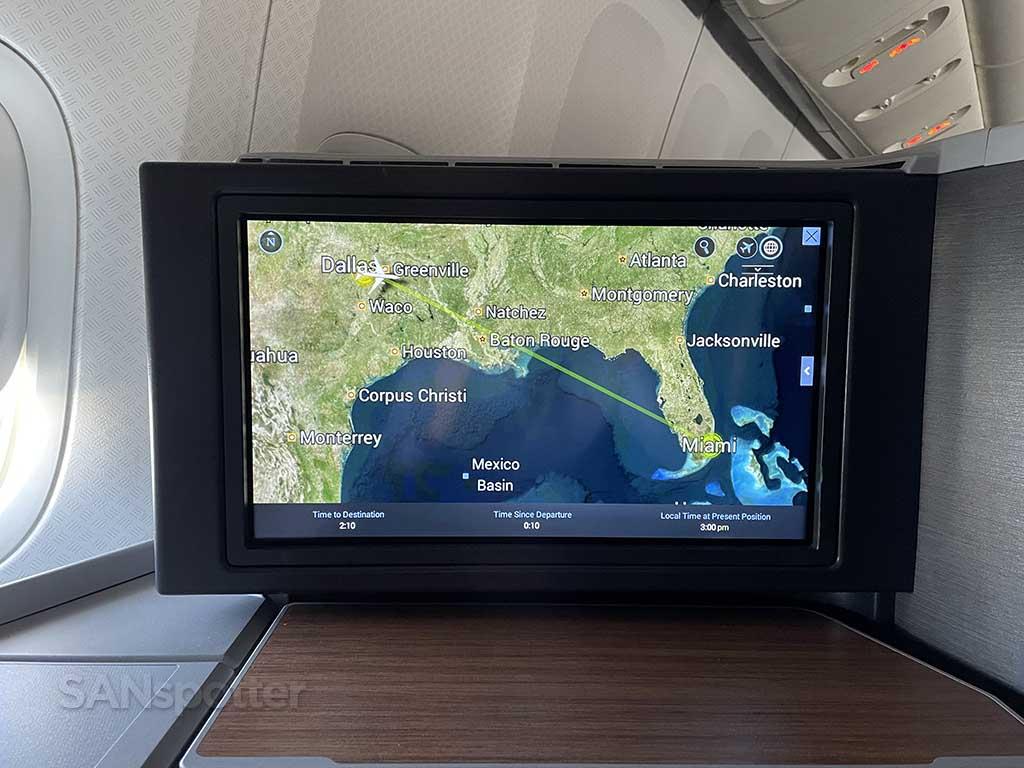 In flight map Dallas to Miami