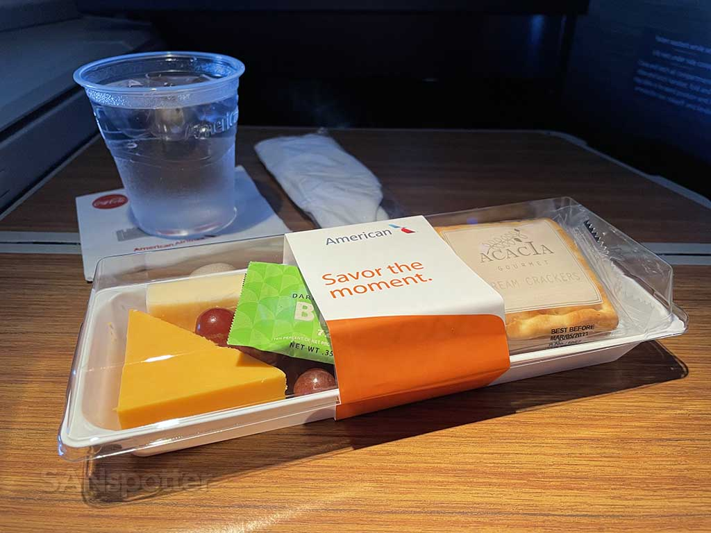 American Airlines fruit and cheese plate