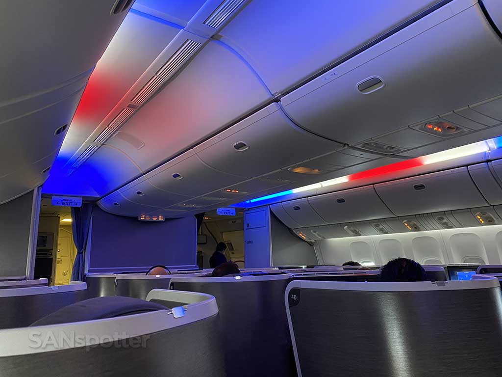 American Airlines red white and blue mood lighting