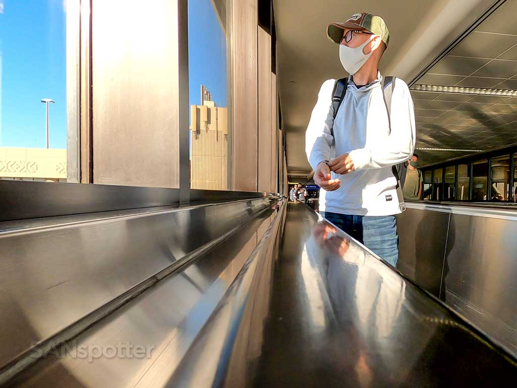 SANspotter selfie Phoenix airport moving walkway