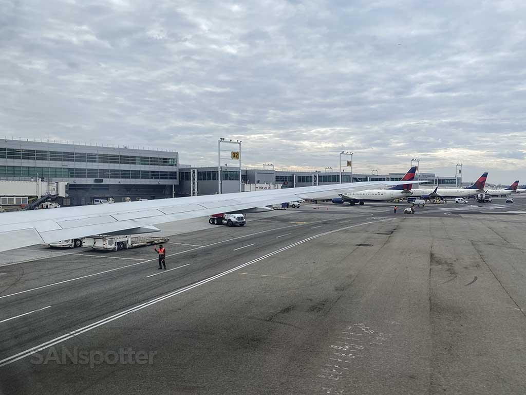 Delta 767-400 push back from gate JFK