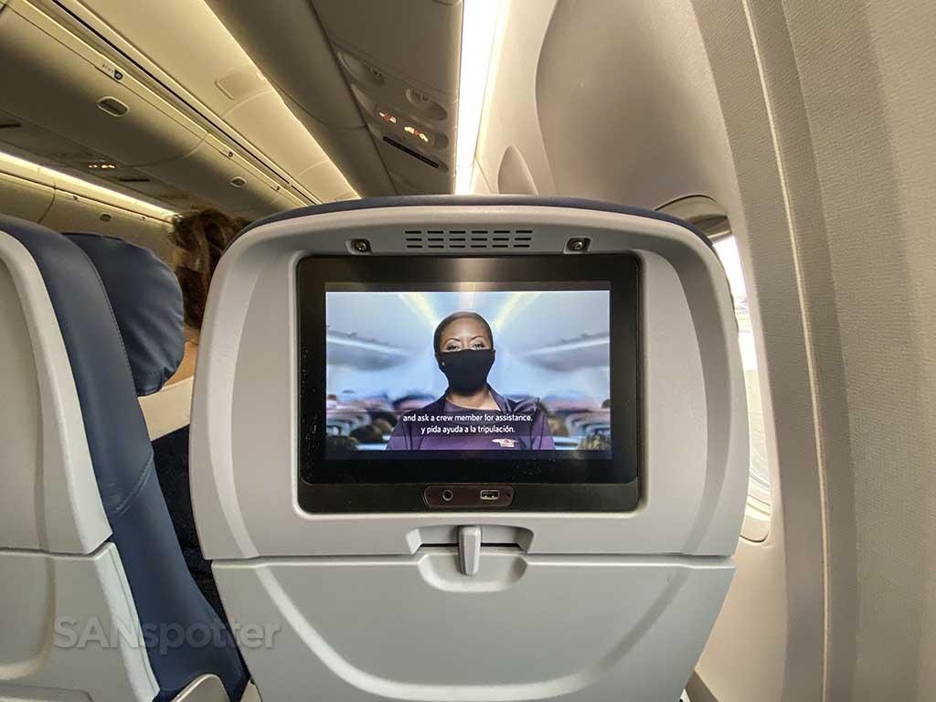 Delta 767-400 economy video screen
