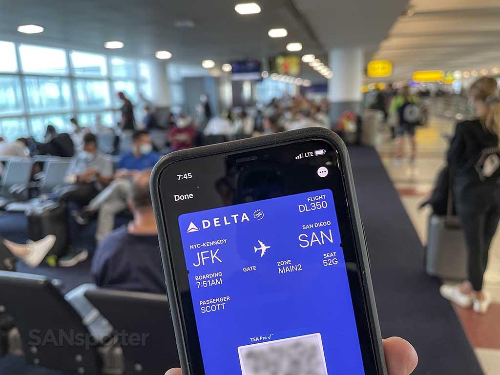 Delta JFK-SAN boarding pass