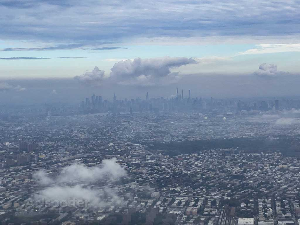 View of NYC skyline after takeoff from JFK