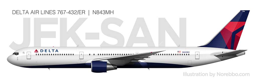Delta Air Lines 767-400 side view N843MH