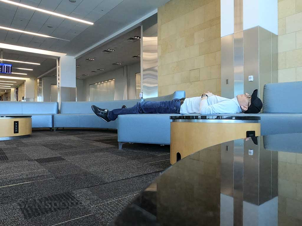 SANspotter lying down canceled flight