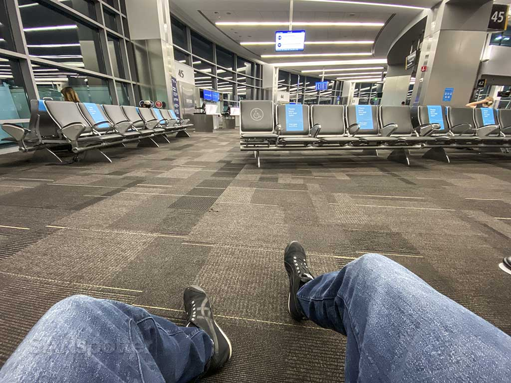 waiting for a flight at the gate