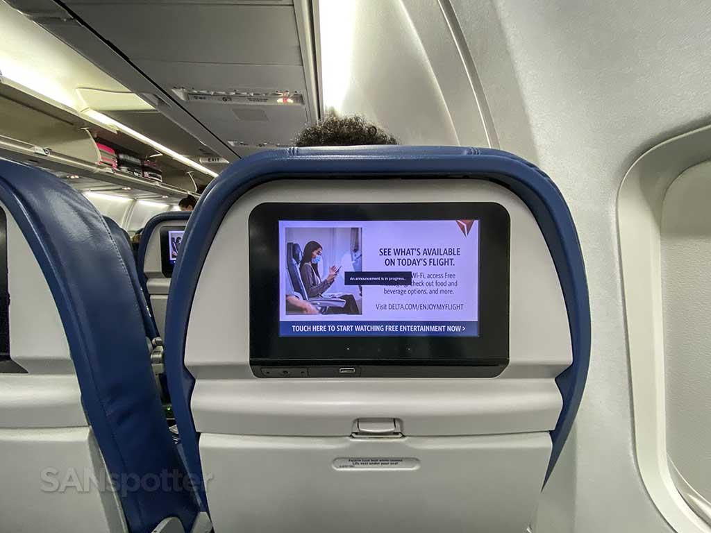 Delta 737-800 economy video screen