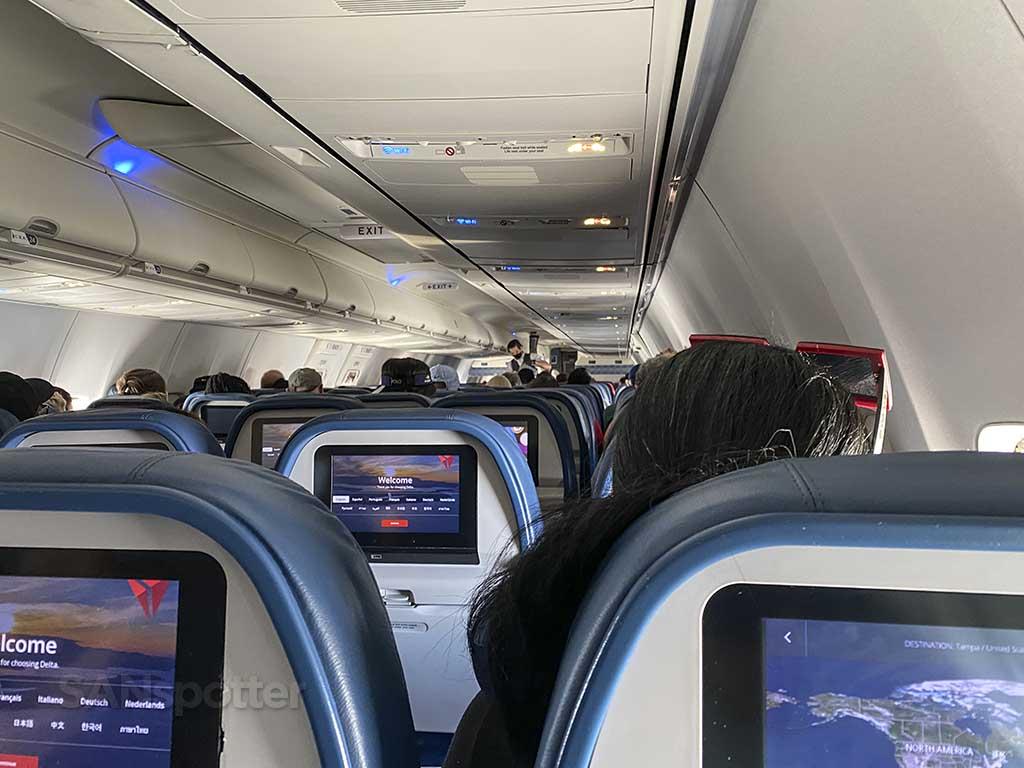Video screens in delta 737-800 economy cabin