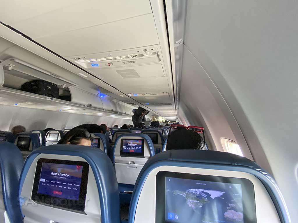 Delta 737-800 economy interior from rear