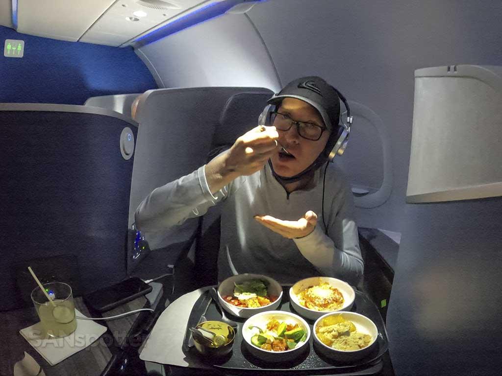 SANspotter eating jetblue mint suites