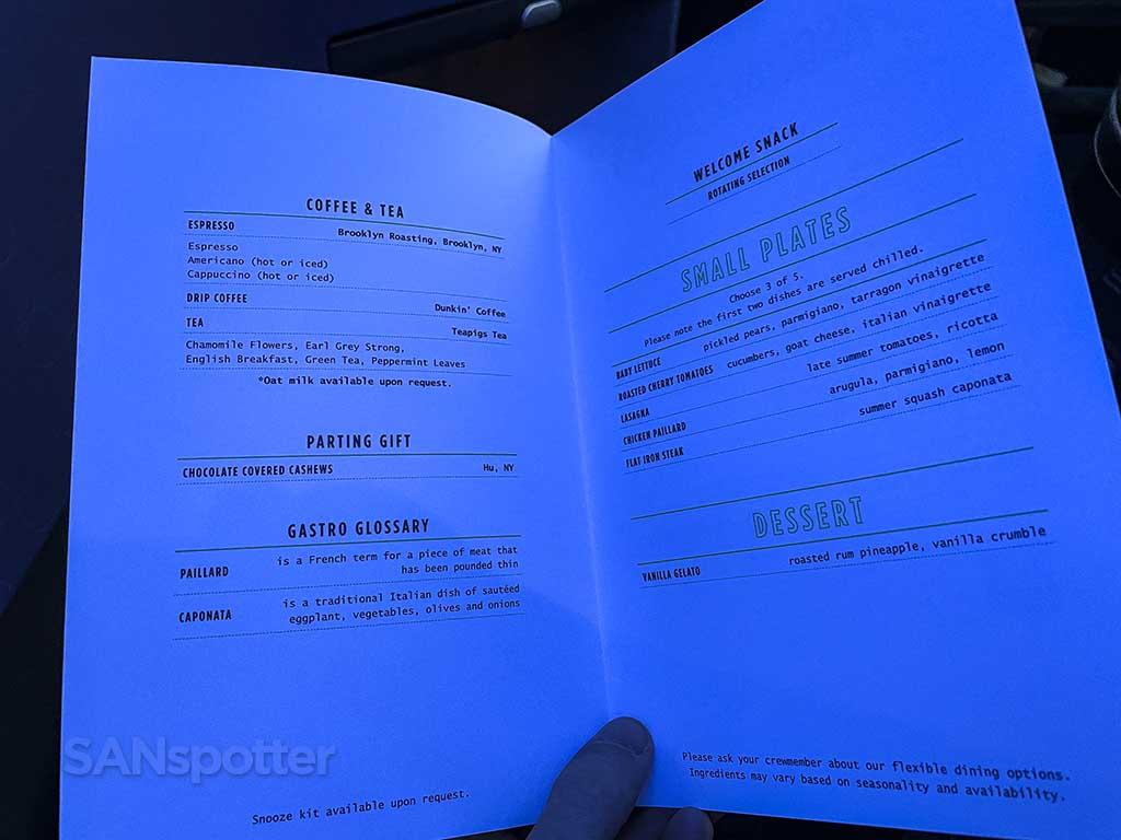 Jetblue mint suites menu