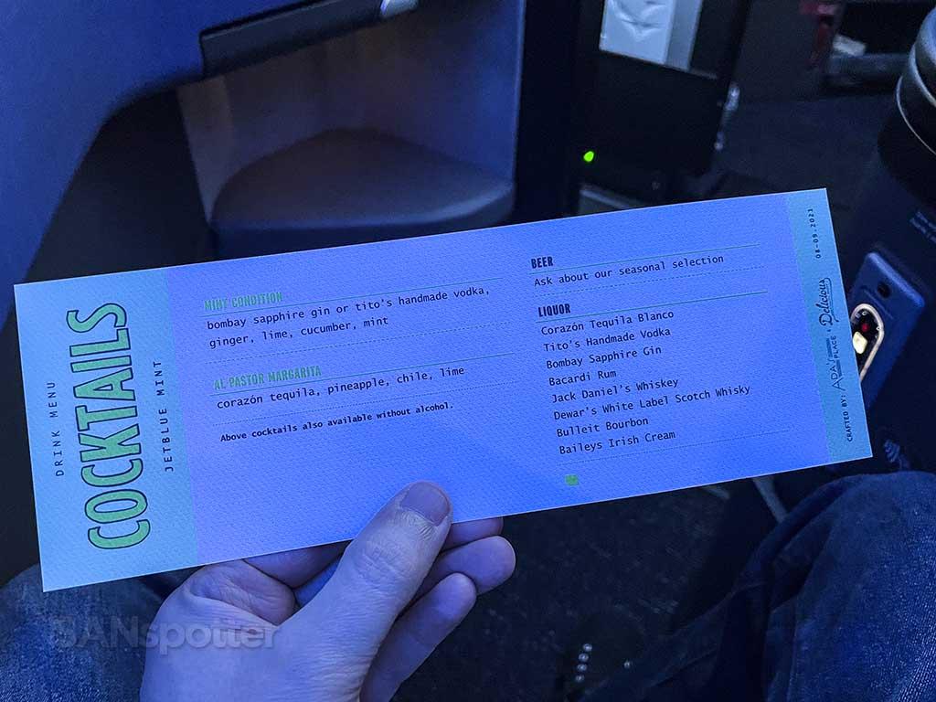 Jetblue mint suites drink menu