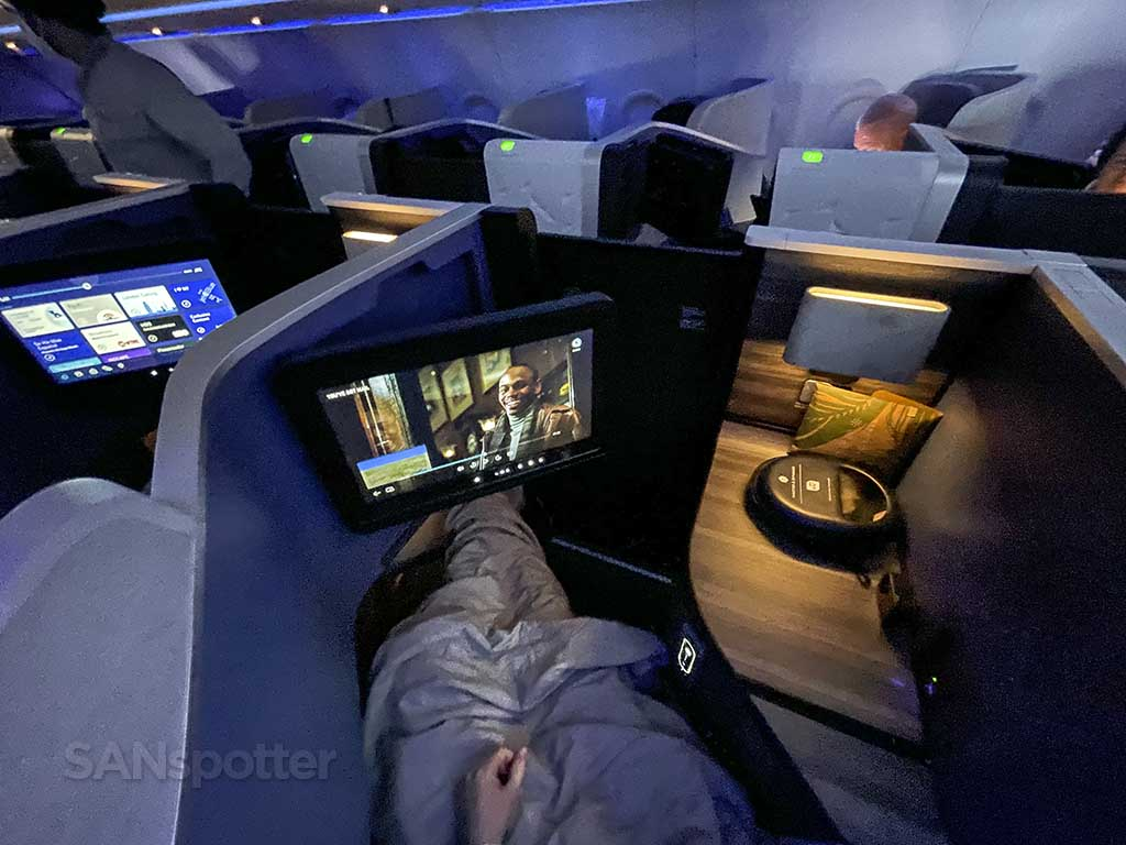Relaxing in jetblue mint suites